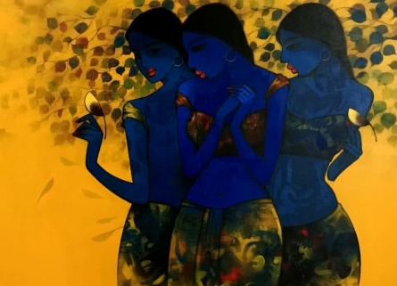 Figurative Acrylic Art Painting title 'Love With Nature 1' by artist Mukesh Salvi