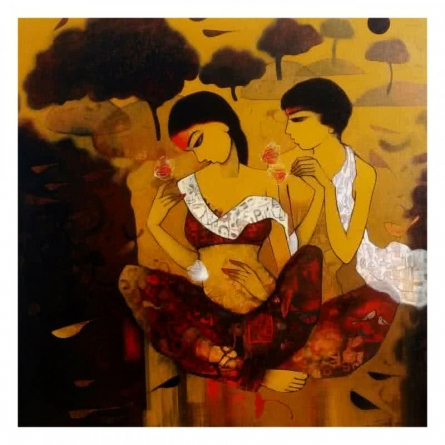 Figurative Acrylic Art Painting title 'Love With Nature 2' by artist Mukesh Salvi