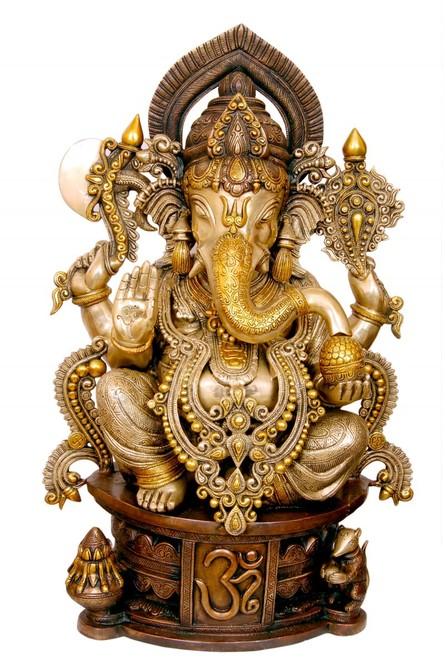 Brass Jewelled Ganesha | Craft by artist Brass Art | Brass
