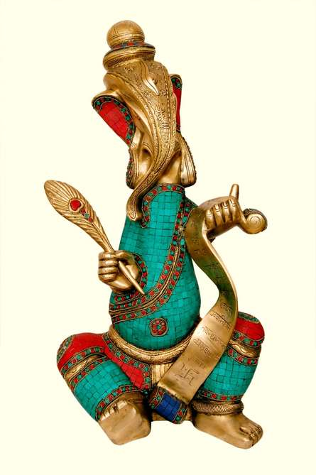 Brass Art | Writing Ganesha Craft Craft by artist Brass Art | Indian Handicraft | ArtZolo.com