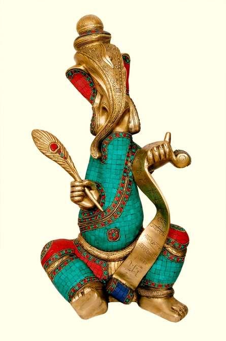 Writing Ganesha   Craft by artist Brass Art   Brass