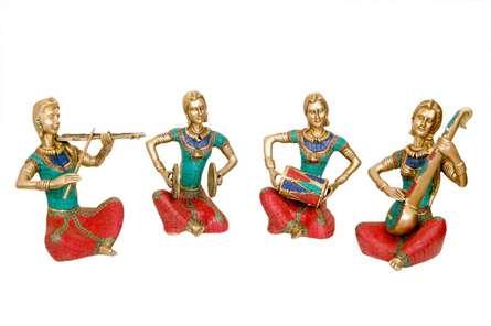 Brass Art | Brass with Stone Musicians Set Craft Craft by artist Brass Art | Indian Handicraft | ArtZolo.com
