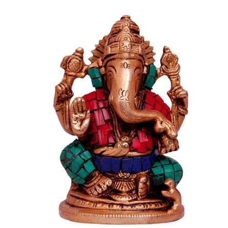Brass Art | Brass Ganesha With Stone Work Craft Craft by artist Brass Art | Indian Handicraft | ArtZolo.com