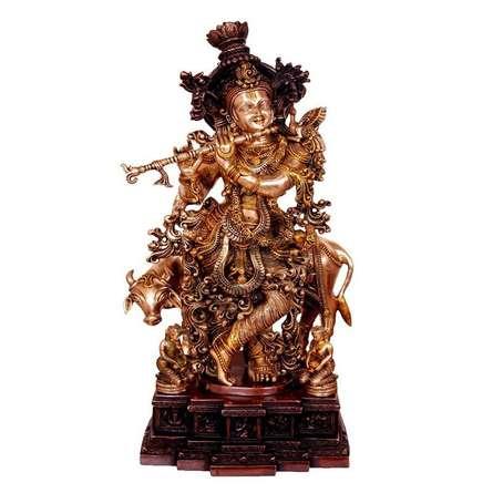 Brass Art | Brass Krishna Craft Craft by artist Brass Art | Indian Handicraft | ArtZolo.com