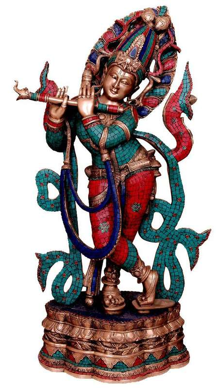 Brass Krishna With Color Stones | Craft by artist Brass Art | Brass