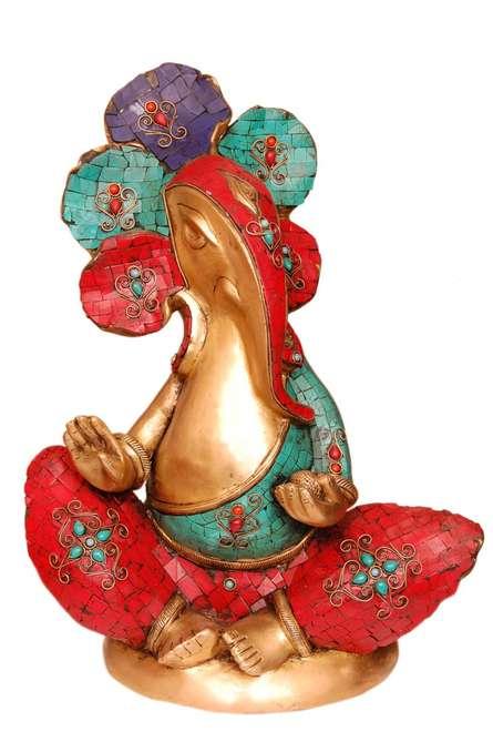 Brass with Stone Flower Ganesha | Craft by artist Brass Art | Brass