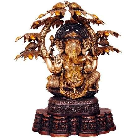 Brass Art | Ganesha With Tree And Peacocks Craft Craft by artist Brass Art | Indian Handicraft | ArtZolo.com