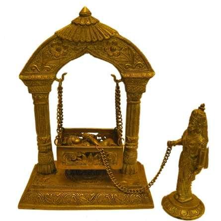 Brass Art   Krishna Jhoola With Yashoda Craft Craft by artist Brass Art   Indian Handicraft   ArtZolo.com
