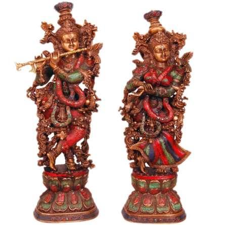 Radha Krishna I | Craft by artist Brass Art | Brass