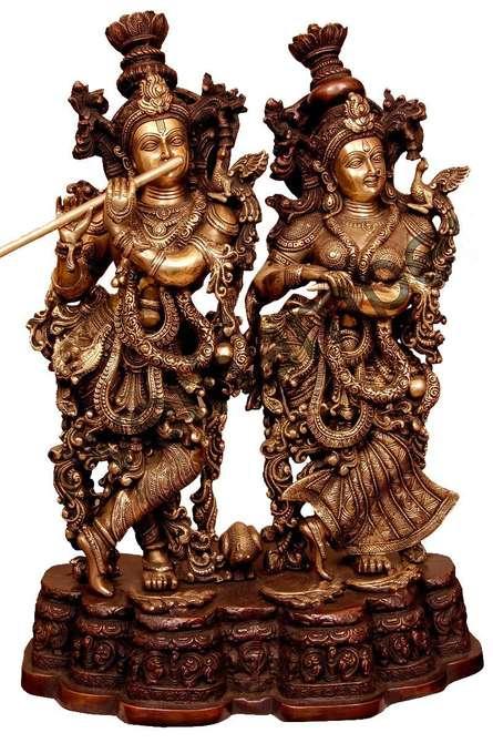 Radha Krishna III | Craft by artist Brass Art | Brass