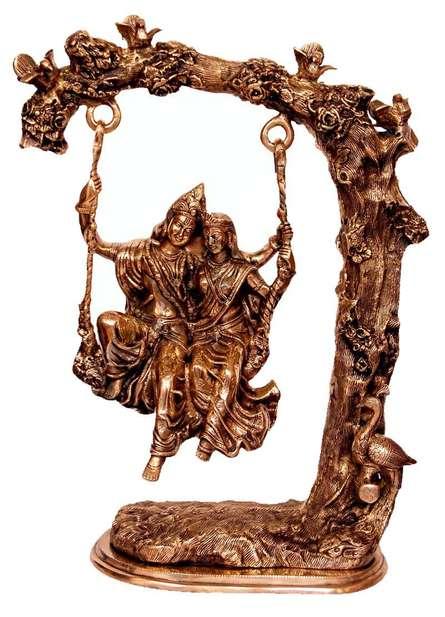 Radha Krishna Jhoola I | Craft by artist Brass Art | Brass