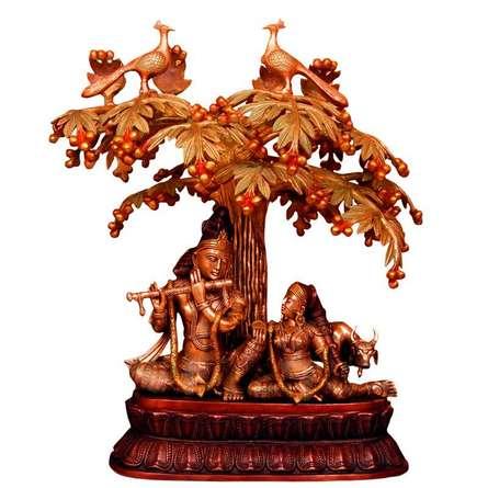 Radha Krishna Under Tree | Craft by artist Brass Art | Brass