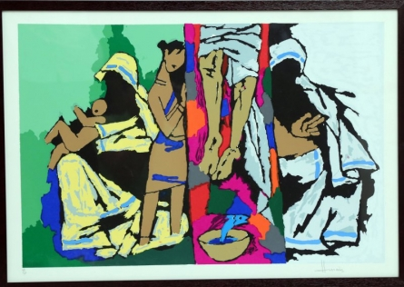 Figurative Serigraphs Art Painting title Theorama Series III by artist M F husain