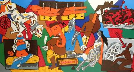 Figurative Serigraphs Art Painting title 'Mahabharata Series' by artist M F husain