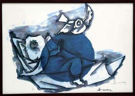 Ganesha and Mouse(Ashtavinayak Series)   Painting by artist M F husain   other   serigraph