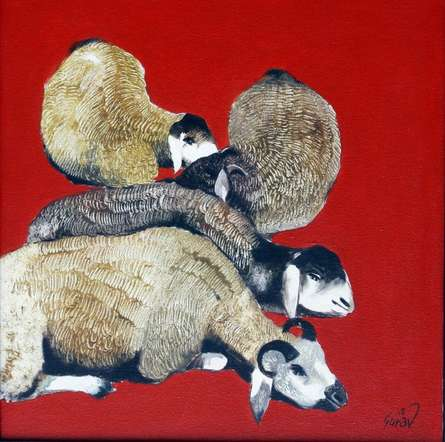 Figurative Oil Art Painting title 'Lazing Sheep' by artist RAOSAHEB GURAV