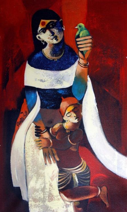 Motherly Love   Painting by artist RAOSAHEB GURAV   acrylic   Canvas