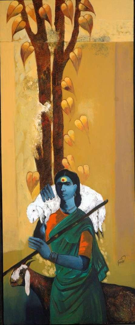 Lady Shepherd | Painting by artist RAOSAHEB GURAV | acrylic | Canvas