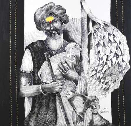 The Shepherd | Painting by artist RAOSAHEB GURAV | acrylic | Canvas