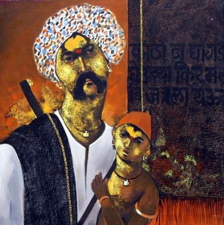 Father and Son | Painting by artist RAOSAHEB GURAV | acrylic | Canvas