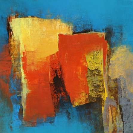 Abstract Acrylic Art Painting title Blue Saga I by artist Siddhesh Rane