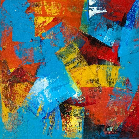 Abstract Acrylic Art Painting title 'Cobalt' by artist Siddhesh Rane
