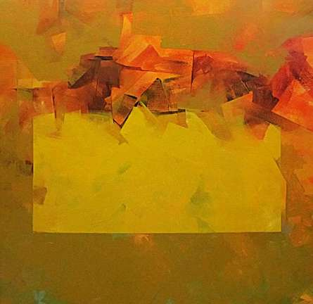 Abstract Acrylic Art Painting title 'Geometric Abstract' by artist Siddhesh Rane