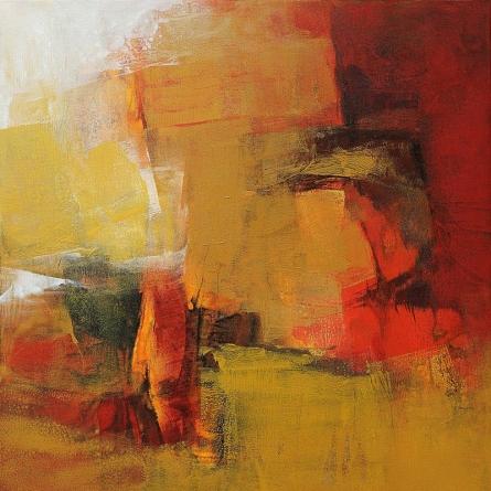 Abstract Acrylic Art Painting title Golden Blush II by artist Siddhesh Rane