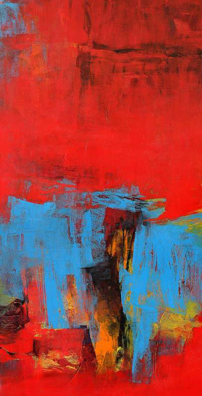 Red Vertical Abstract II | Painting by artist Siddhesh Rane | acrylic | Canvas