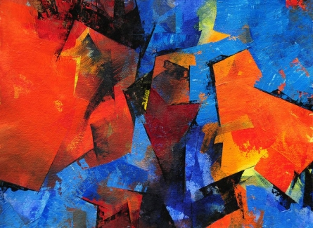 Abstract Acrylic Art Painting title Two Worlds by artist Siddhesh Rane