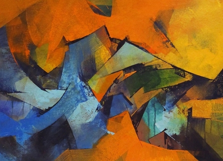 Abstract Acrylic Art Painting title 'Untitled 109' by artist Siddhesh Rane