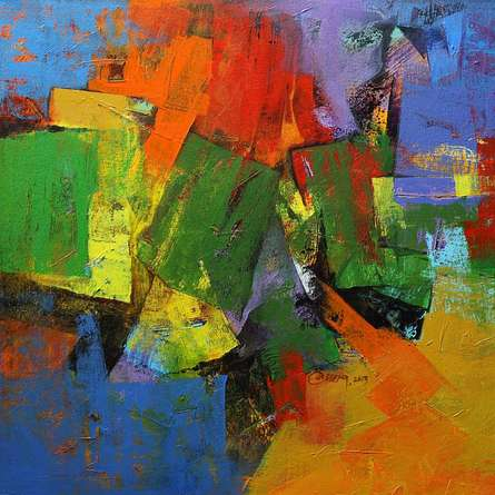Abstract Acrylic Art Painting title Vibrant Hues by artist Siddhesh Rane
