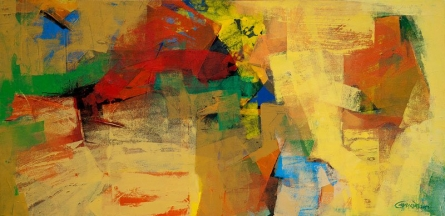 Abstract Acrylic Art Painting title 'Yellow Horizontal Abstract' by artist Siddhesh Rane