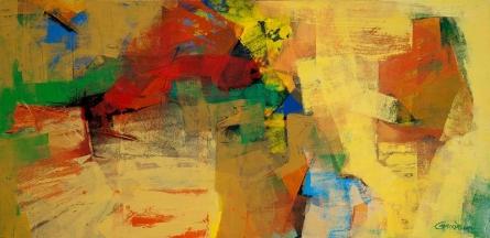 Yellow Horizontal Abstract | Painting by artist Siddhesh Rane | acrylic | Canvas
