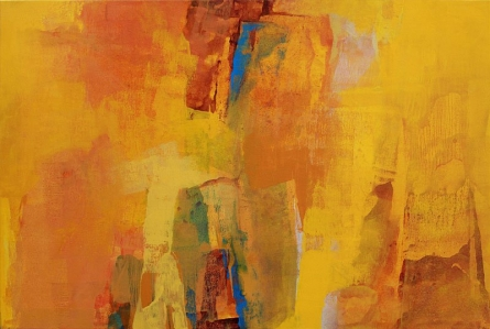 Abstract Acrylic Art Painting title 'Yellow Realm' by artist Siddhesh Rane