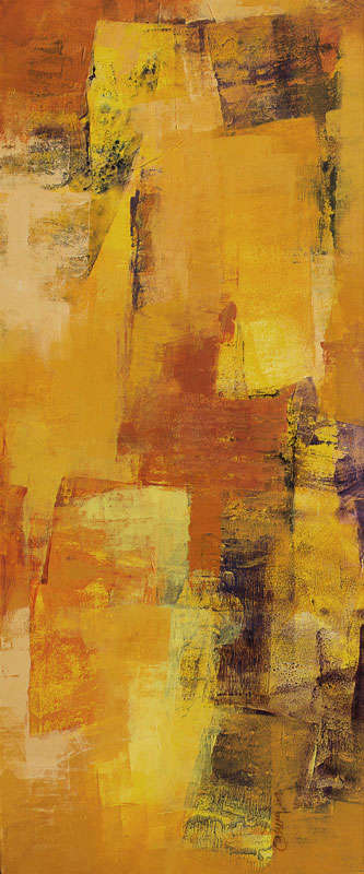 Yellow Vertical Abstract I | Painting by artist Siddhesh Rane | acrylic | Canvas