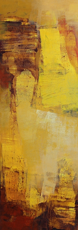Abstract Acrylic Art Painting title 'Yellow Vertical Abstract II' by artist Siddhesh Rane