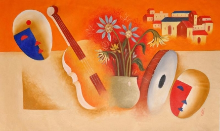 Musical Love | Painting by artist Chetan Katigar | oil | Canvas