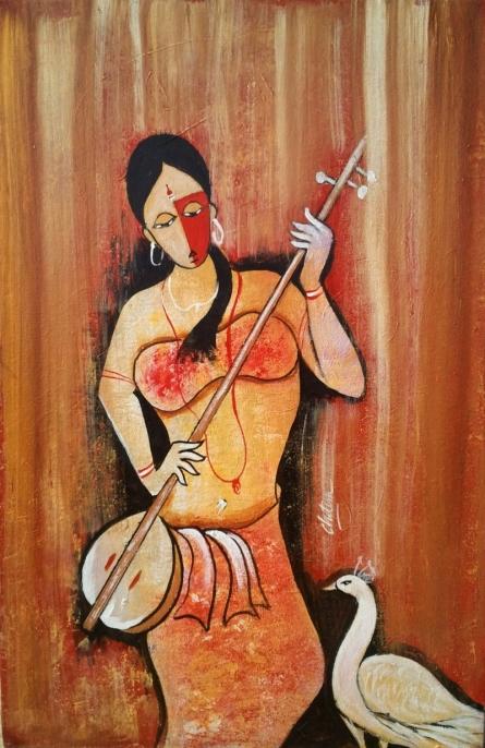 Figurative Oil Art Painting title ' Rhythm 2' by artist Chetan Katigar