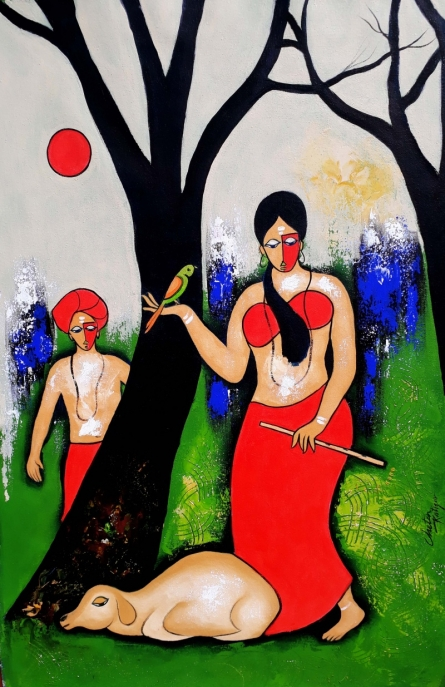 contemporary Acrylic Art Painting title 'Romantic couple' by artist Chetan Katigar