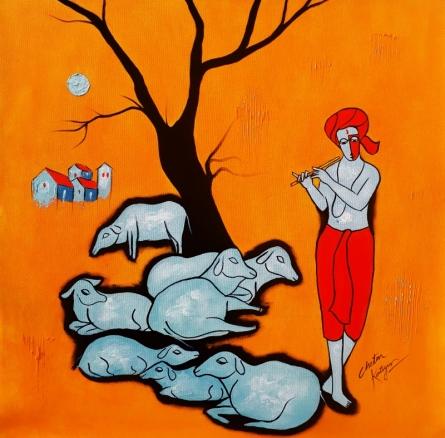 Flutist | Painting by artist Chetan Katigar | acrylic | Canvas
