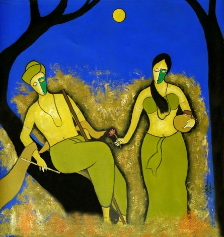 Figurative Mixed-media Art Painting title 'At Night' by artist Chetan Katigar