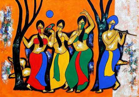 Figurative Acrylic Art Painting title Dancing Mood by artist Chetan Katigar
