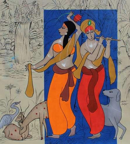 #acrylic #canvas #figurative #friends #love #fondness #krishna