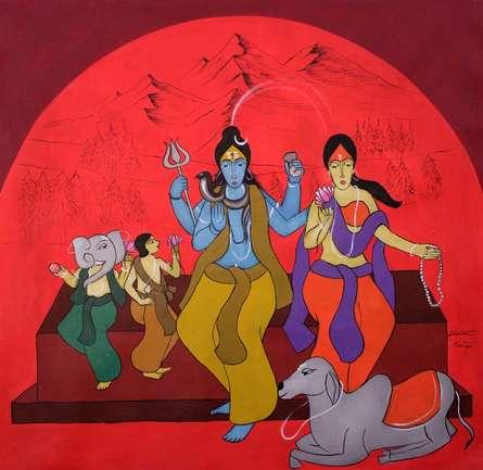 Religious Acrylic Art Painting title Family by artist Chetan Katigar