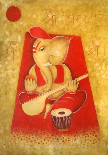 Ganesha 1 | Painting by artist Chetan Katigar | oil | Canvas