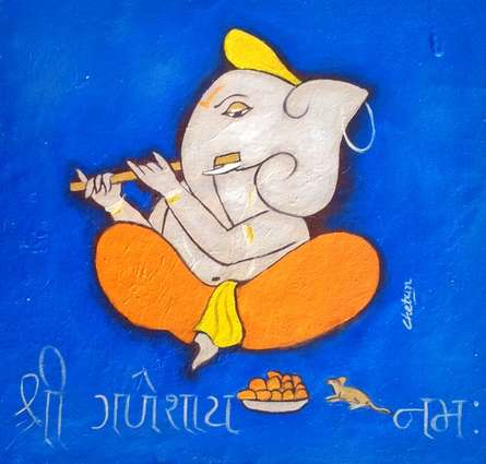 Religious Oil Art Painting title 'Ganesha 6' by artist Chetan Katigar