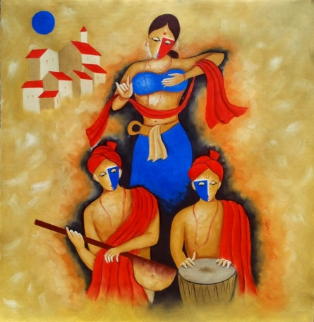 Figurative Oil Art Painting title 'Indian Culture' by artist Chetan Katigar