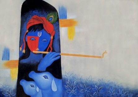 Krishna | Painting by artist Chetan Katigar | oil | Canvas