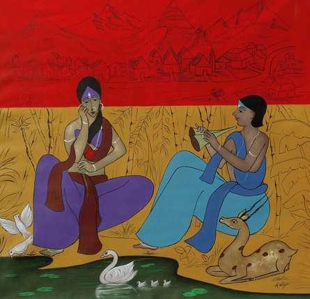 Figurative Acrylic Art Painting title Liaison by artist Chetan Katigar